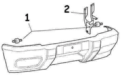 drawing of bolts, side brackets and bumper for Discovery Series II