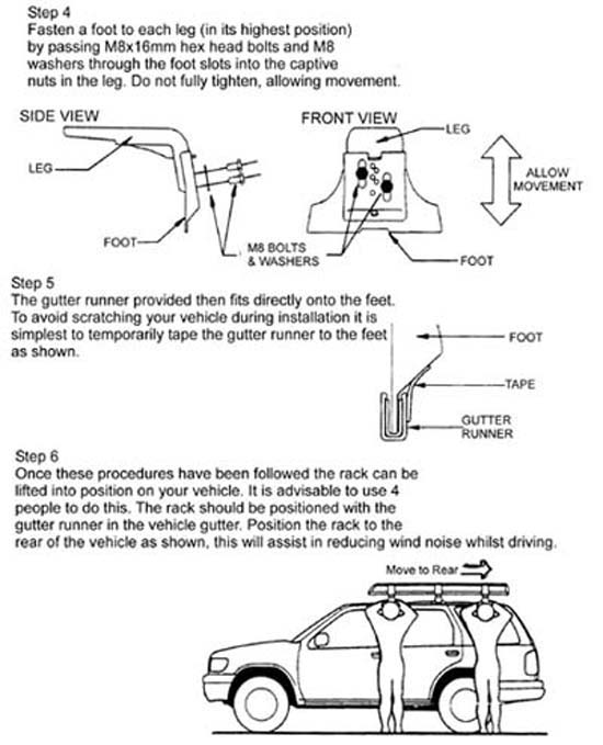 ARB roof rack installation instructions: steps 4-6