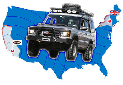 Land Rover over outline of America