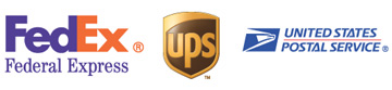 Shipping logos for services Atlantic British uses: FedEx, UPS, USPS