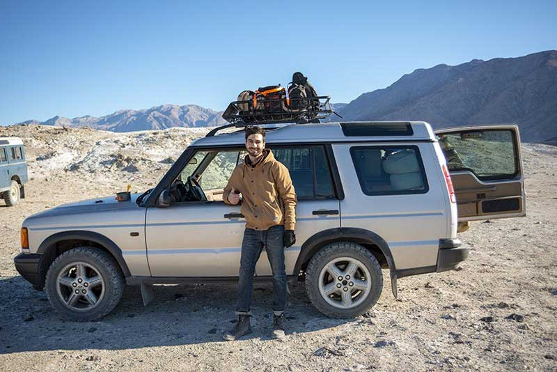 Writer with his Land Rover