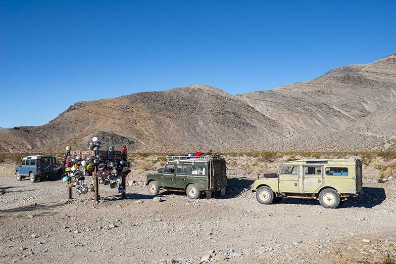 Land Rover train in Death Valley