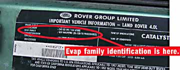 Evap family identification location on Land Rover Discovery I