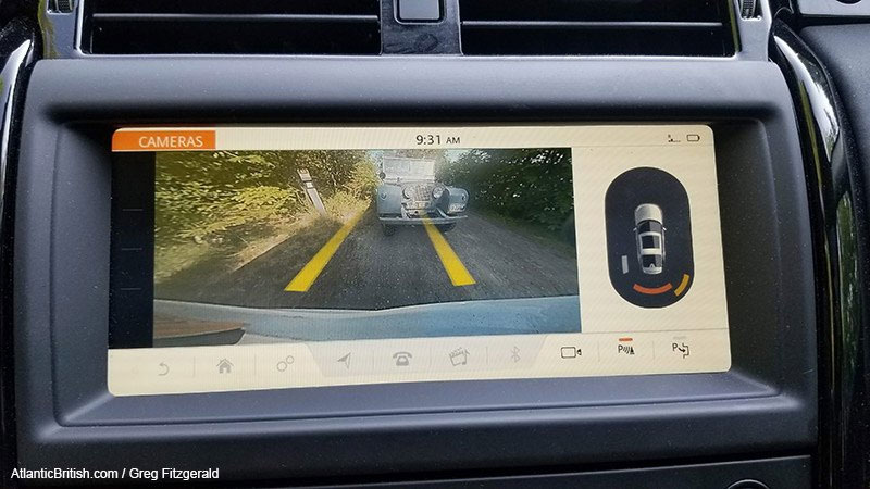Discovery 5 backup camera with Land Rover 80 inch in camera view