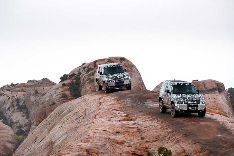 Land Rover Defender Traversing Rocky Plateaus