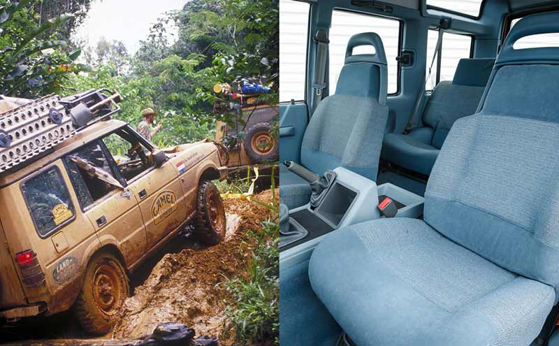 Land Rovers going through mud / Discovery I interior photo