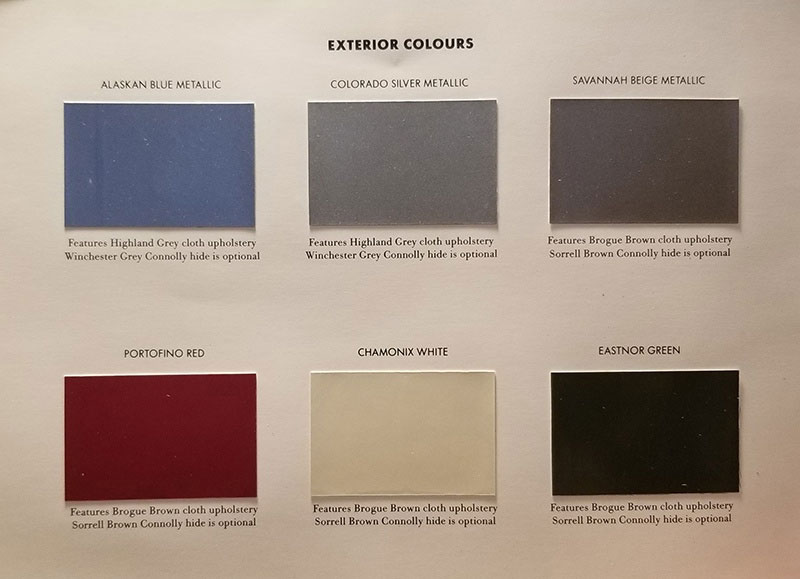 Exterior Color Swatch For Land Rovers