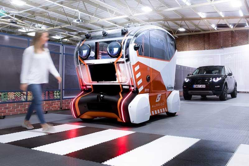 test of autonomous car stopping for pedestrian