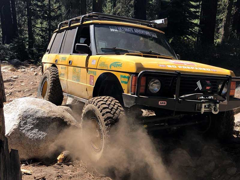 Land Rover doing some off-roading at rally