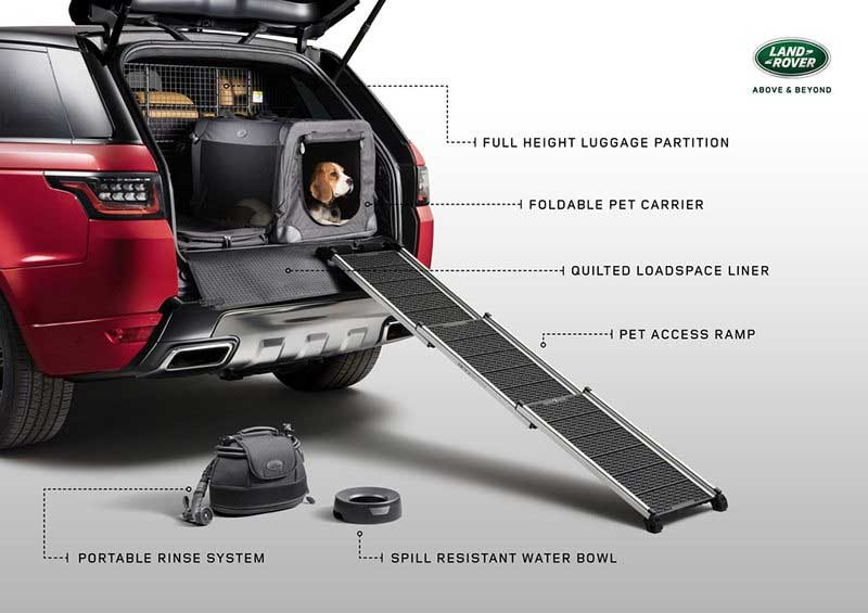 graphic with details on the Pet Pack accessories for Land Rovers