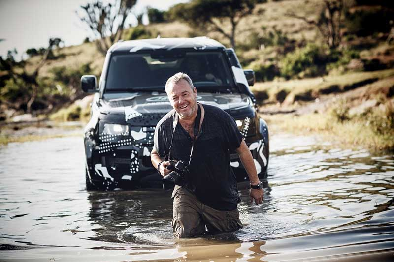 David Yarrow With The Tusk Land Rover Defender