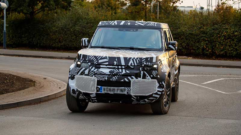new Defender model on test drive in disguise
