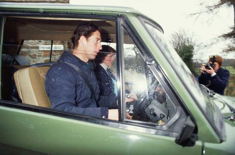 Prince Charles driving green Land Rover