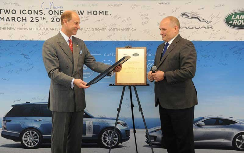 Prince Edward inaugurating Jaguar Land Rover US Headquarters
