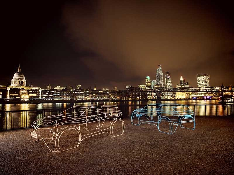 New Range Rover Evoque wire frames with the London Skyline