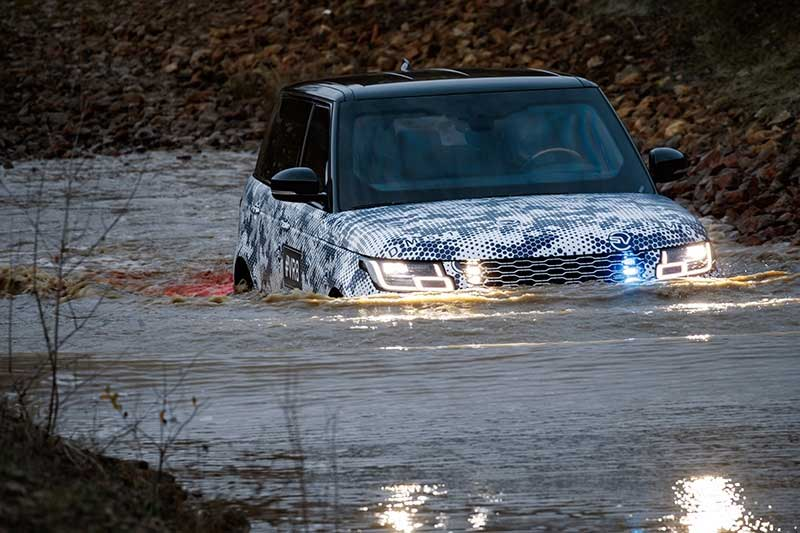 Range Rover Sentinel fording a river