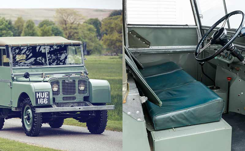 Series I Land Rover driving down road / Series I Land Rover with door open