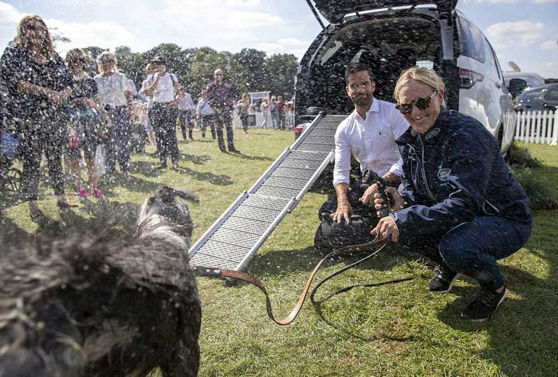 dog and owners testing out Pet Pack accessories for Land Rover
