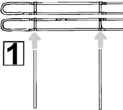 Insert the vertical upright tubes (C) through the plastic vertical brackets (B)