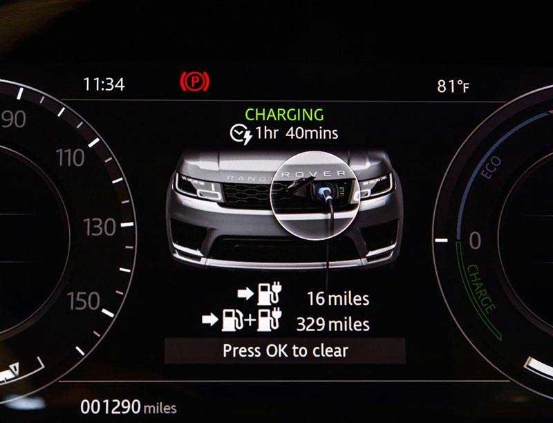 Range Rover Sport plug-in hybrid dash