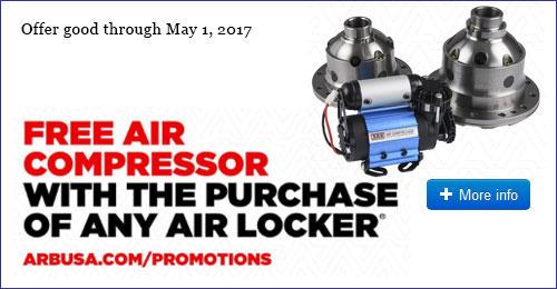 Buy An ARB Air Locker And Get A Free ARB Compressor!
